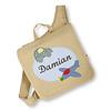 crêpes suzette Kindergartentasche wandelbar zum Rucksack mit Namen bestickt Motiv: Flugzeug und Auto, Farbe : Beige