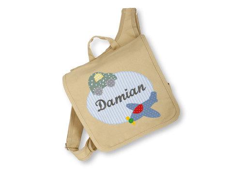 crêpes suzette Kindergartentasche wandelbar zum Rucksack mit Namen bestickt Motiv: Flugzeug und Auto