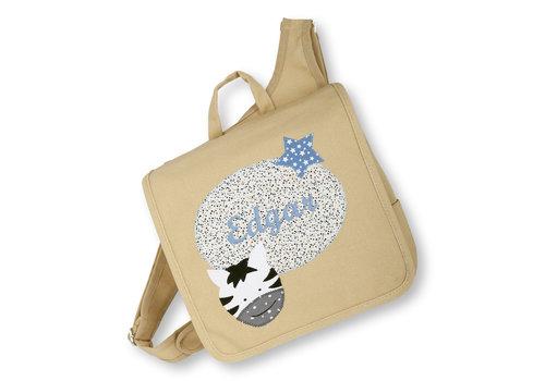 crêpes suzette Kindergartentasche wandelbar zum Rucksack mit Namen bestickt Motiv: Zebra