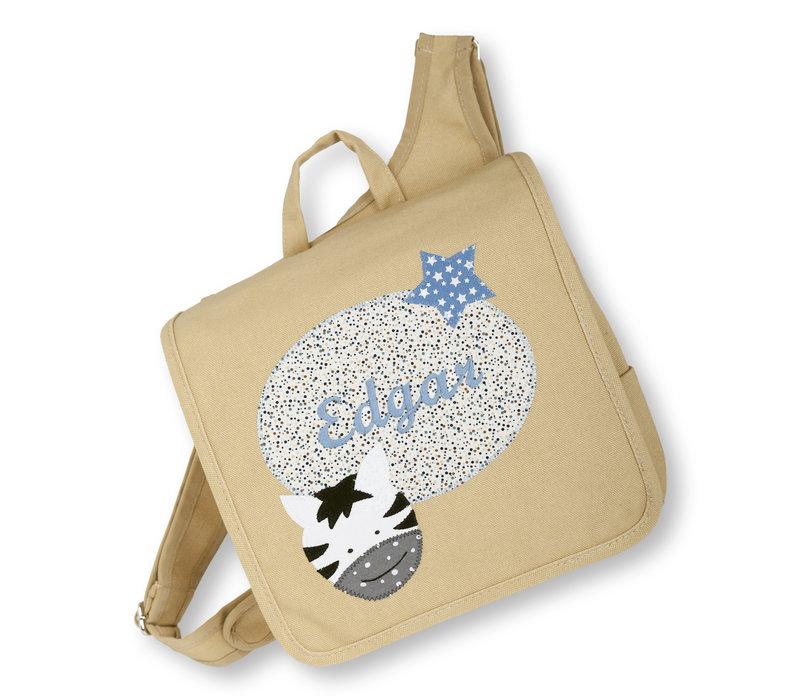 Kindergartentasche wandelbar zum Rucksack mit Namen bestickt Motiv: Zebra, Farbe : Beige - Copy