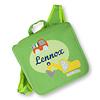 crêpes suzette Kindergartentasche / Rucksack mit Namen bestickt. Bagger und LKW, Farbe : Grün