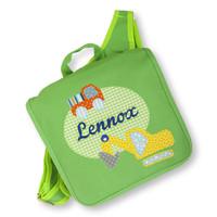 Kindergartentasche / Rucksack mit Namen bestickt. Bagger und LKW, Farbe : Grün