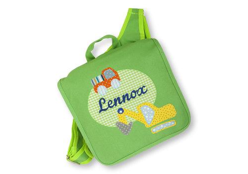 crêpes suzette Kindergartentasche / Rucksack mit Namen bestickt. Bagger und LKW