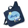 crêpes suzette Kindergartentasche mit Namen bestickt mit Polizeiauto, wandelbar zum Kinderrucksack, Farbe: Dunkelblau