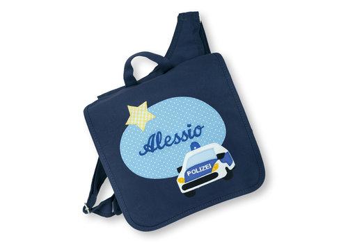 crêpes suzette Kindergartentasche mit Namen bestickt mit Polizeiauto, wandelbar zum Kinderrucksack