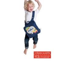Kindergartentasche mit Namen bestickt mit Hund, wandelbar zum Kinderrucksack, Farbe: Dunkelblau