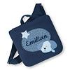 crêpes suzette Kindergartentasche mit Namen bestickt mit Hund, wandelbar zum Kinderrucksack, Farbe: Dunkelblau