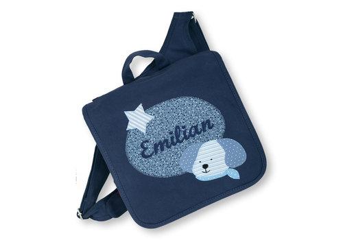 crêpes suzette Kindergartentasche mit Namen bestickt mit Hund, wandelbar zum Kinderrucksack