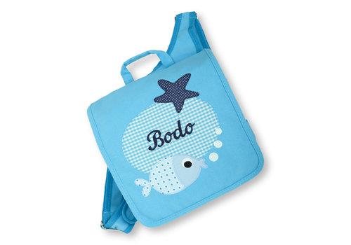 crêpes suzette crêpes suzette Kindergartentasche mit Namen bestickt - zum Kinderrucksack wandelbar. Fisch