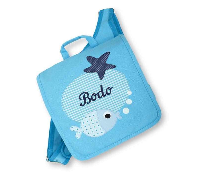 Kindergartentasche mit Namen bestickt - zum Kinderrucksack wandelbar. Fisch, Farbe : Türkis