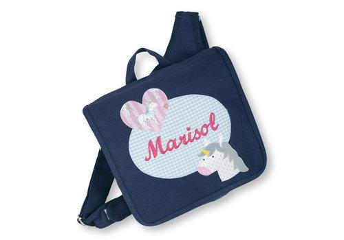 crêpes suzette Kindergartentasche mit Namen bestickt, Motiv: Einhorn