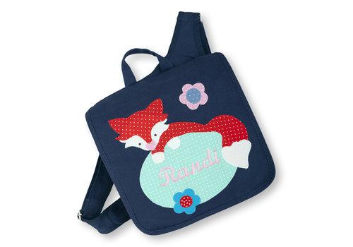 crêpes suzette Kindergartentasche mit Namen bestickt, Motiv: Fuchs