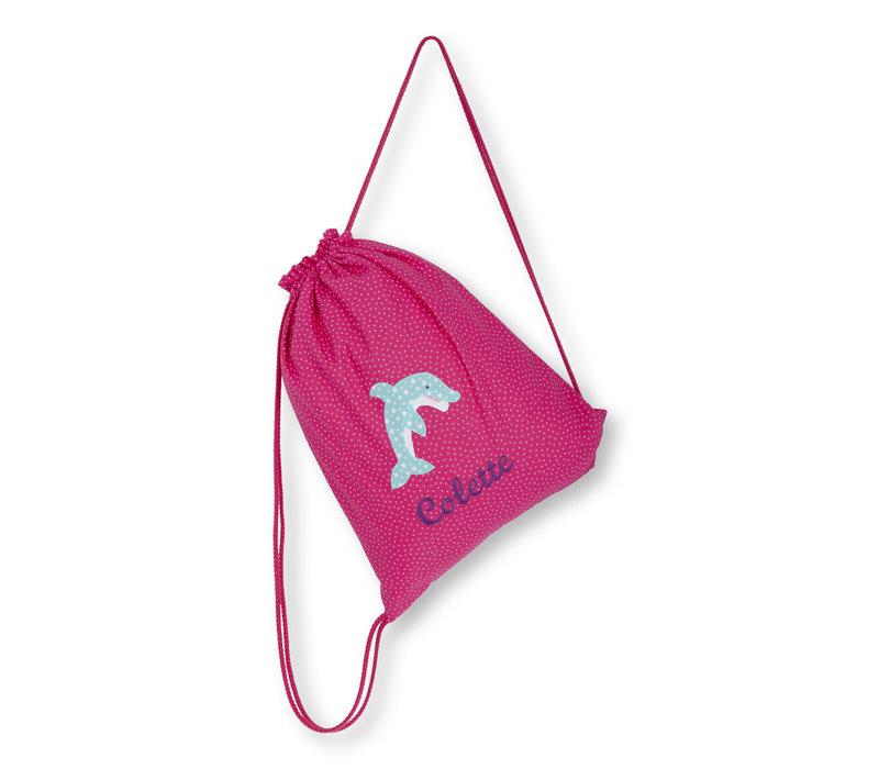 Turnbeutel mit Namen bestickt, Motiv Delfin, Farbe :Pink