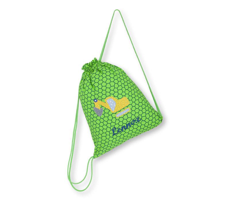 Turnbeutel mit Namen bestickt, Motiv Bagger Farbe :Grün