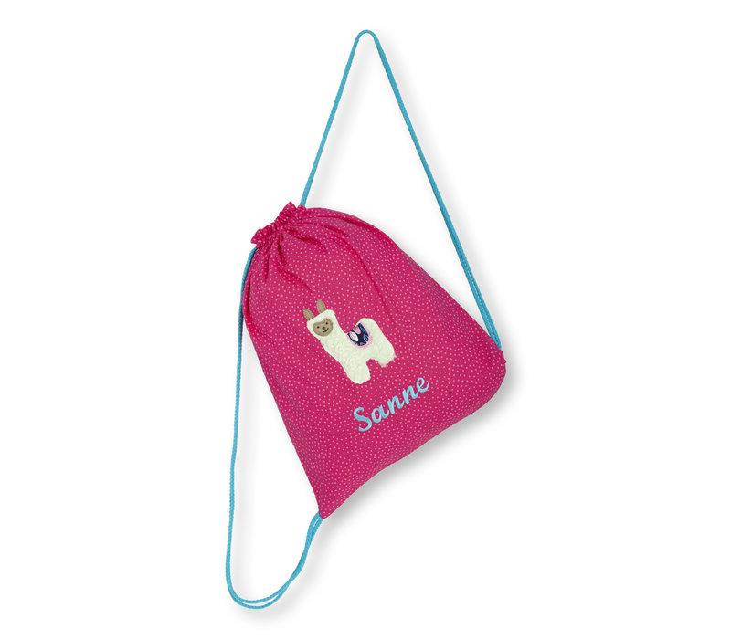 Turnbeutel mit Namen bestickt, Motiv Lama, Farbe: Pink