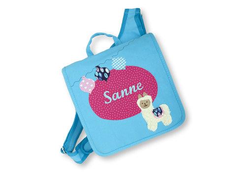 crêpes suzette Kindergartentasche mit Namen bestickt, Motiv: Lama