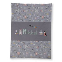 Krabbeldecke mit Namen als Geschenk zur Taufe,  Motiv: Bär, Hase, Farbe : Grau Mint