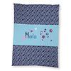 crêpes suzette Krabbeldecke mit Namen, Namensdecke, Babydecke, Blumen und Schmetterlinge Farbe: Türkis Blau