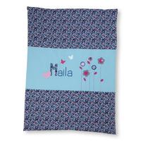 Krabbeldecke mit Namen, Namensdecke, Babydecke, Blumen und Schmetterlinge Farbe: Türkis Blau