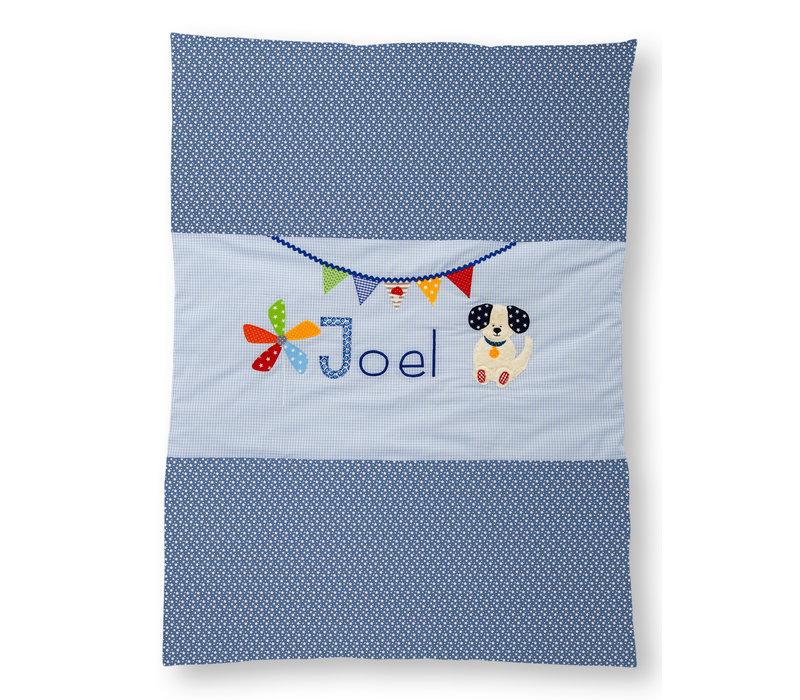 Krabbeldecke mit Namen als Geschenk zur Taufe, Hund Farbe: Blau