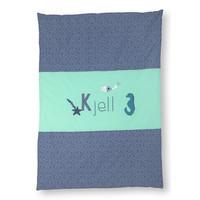 Krabbeldecke mit Namen als Geschenk zur Taufe,  Motiv: Unterwasserwelt Farbe : Mint, Taubenblau