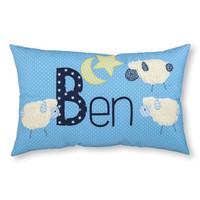 Namenskissen mit Schafen, Farbe: Hellblau mit weißen Pünktchen