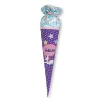 Schultüte aus Stoff Einhorn und Sterne für Mädchen, Farbe Lila