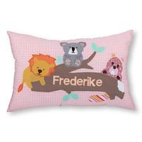 Namenskissen mit Löwe, Koalabär und Biber, Farbe: rosa