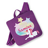 crêpes suzette Kindergartentasche mit Namen bestickt, Motiv: Einhorn Farbe : Brombeere