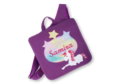 crêpes suzette Kindergartentasche mit Namen bestickt, Motiv: Einhorn und Sternen