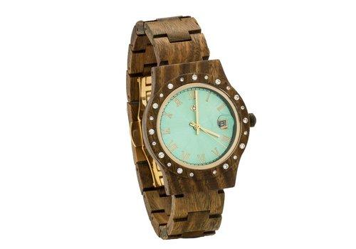 Lumbr Aurora Holz Uhr Green Glänzend Sandel
