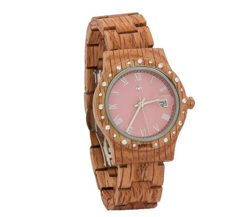 Aurora Holz Uhr Pink Matt Koa