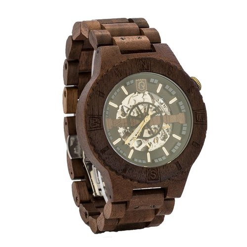 Lumbr Troy Mechanical wooden watch - Walnut Silver