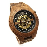 Troy Mechanical wooden watch - Walnut wood, Golden movement