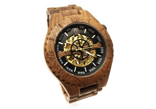 Lumbr Troy Mechanical wooden watch - Walnut Gold