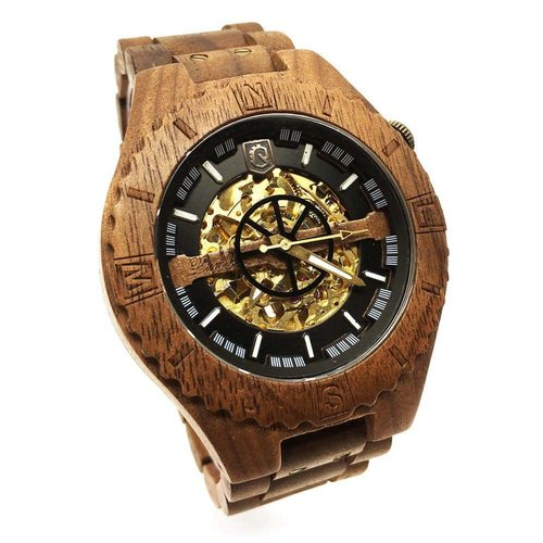 Lumbr Troy watch - van walnoothout met gouden binnenwerk | Lumbr