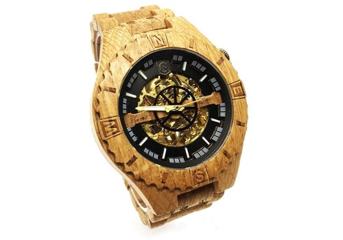 Lumbr Troy Mechanical wooden watch - Oak Gold