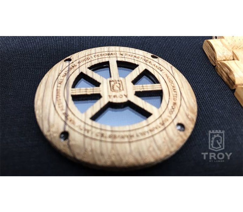 Troy Mechanical wooden watch - Oak wood Silver movement
