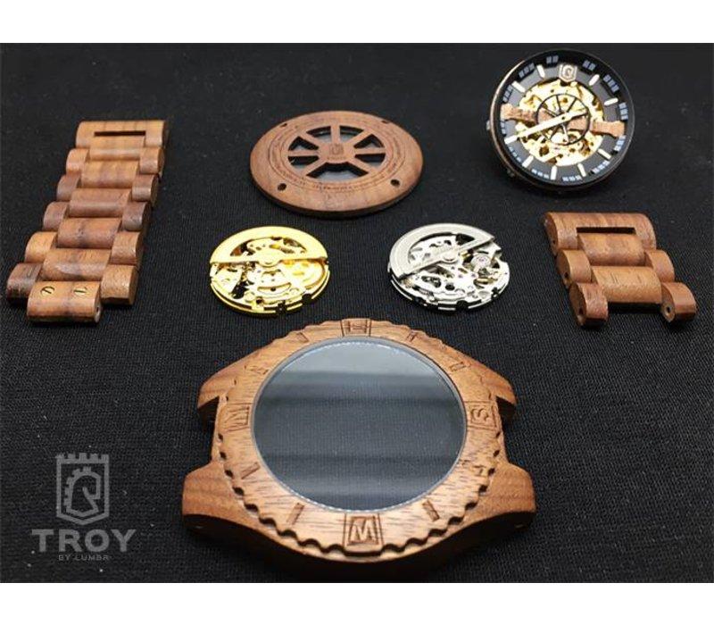 Troy watch - Kinetic.  Van walnoothout met zilver binnenwerk | Lumbr