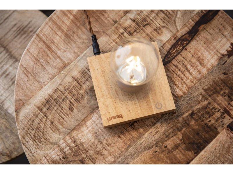 Lumbr Lumbr Air | Schwebende Lampe mit Sockel aus Eichenholz