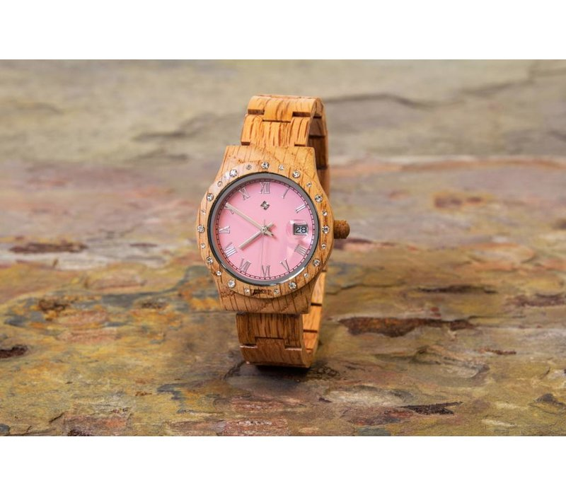 Aurora Pink Matt dameshorloge van koa hout