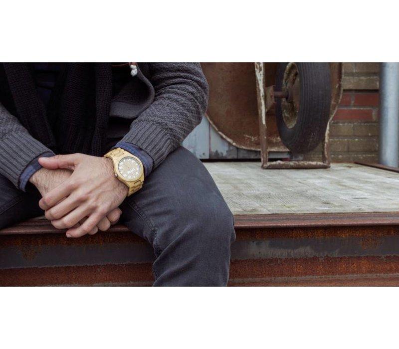 T1M3 bamboehout horloge (Large)