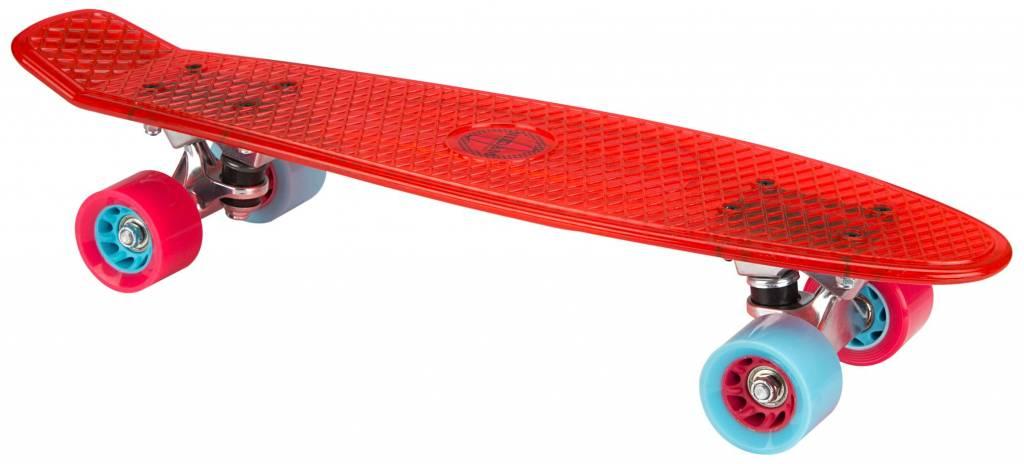 NIJDAM Penny Board Transparent/Rot/hellblau