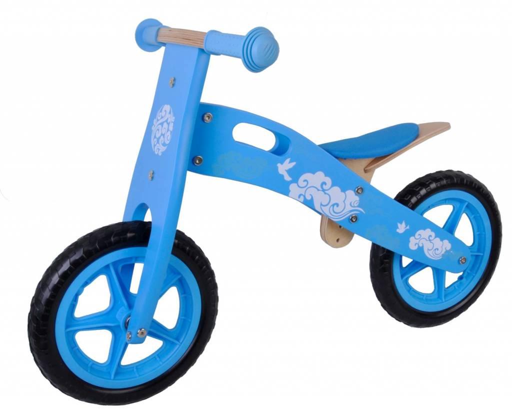 YIPEEH   Houten loopfiets Blauw 12 inch