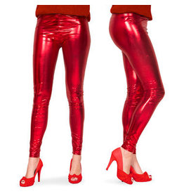KERSTMIS LEGGINGS METALLIC-LOOK ROT - GRÖßE S-M