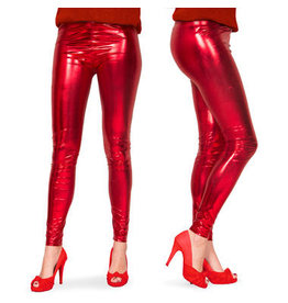 KERSTMIS LEGGINGS METALLIC-LOOK ROT - GRÖßE L-XL
