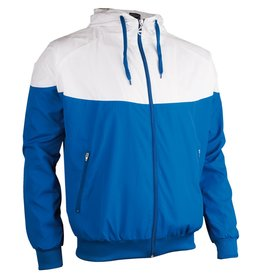 AVENTO SPORTJACK MET CAPUCHON, BLAUW/WIT
