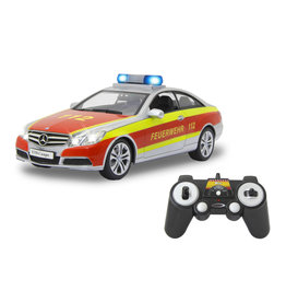 MERCEDES BENZ E350 COUPE FIRE BRIGADE 2,4 GHZ ZILVER/ROOD