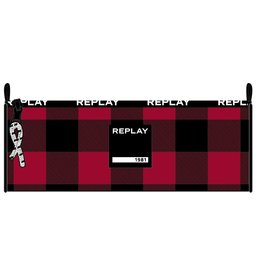 REPLAY ETUI REPLAY BOYS, BLACK WITH RED CHECK: 8X23X8 CM