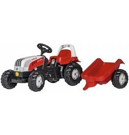 ROLLY TOYS ROLLY TOYS STEYR TRACTOR MET AANHANGER, ROOD/WIT